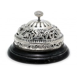 Victorian Silver Table Bell on Black Ebonised Base (c.1901)