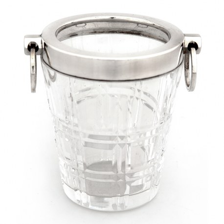 Art Deco Style Silver Plate & Cut Glass Ice Pail (c.1940)