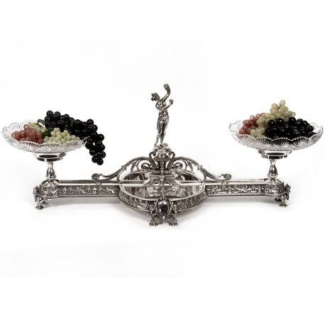 Stunning Elkington & Co Centre Piece with Classical Female Fighre and Two Cut Glass Bowls