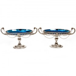Pair of Victorian Oval Comports with Turquoise Glass Lining (1880)