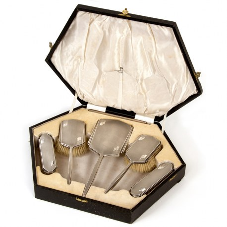 Boxed 6 Piece Art Deco Style Silver Dressing Table Set (1933)