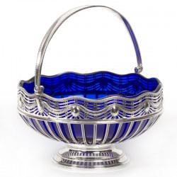 Georgian Style Silver Plate Circular Wirework Basket with Original Bristol Blue Liner (c.1900)