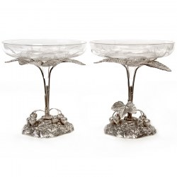 Pair of Silver Plate Comports Decorated with Strawberries and with Two Circular Glass Bowls