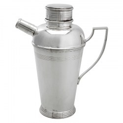 Quality Silver Plated Art Deco Style Cocktail Shaker with Applied Angled Handle