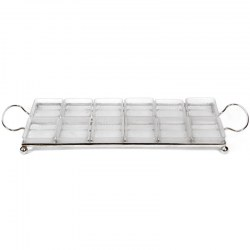 Silver Plate Orderve Tray with Twelve Frosted Glass Sections