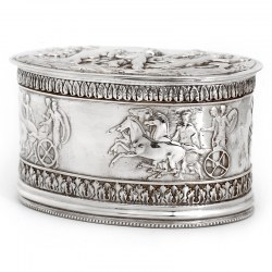 Victorian Silver Plate Electrotype Oval Hinged Box with Roman Chariots and Putti Children