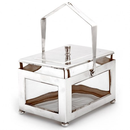 Smart Plain Rectangular Swing Handle Silver Plated Box with Clear Glass Liner
