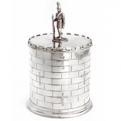 Victorian Castle Shape Silver Plate Biscuit Box with Cast Soldier Figure (c.1880)