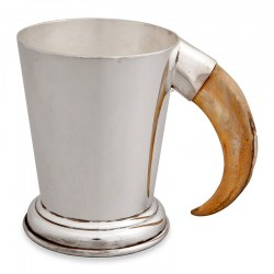 Plain Antique Silver Plated Pint Mug with Boars Tooth Handle (c.1900)