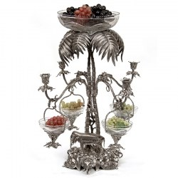 Very Decorative Victorian Silver Plated Epergne with Elephant Heads and a Plam Tree (c.1870)
