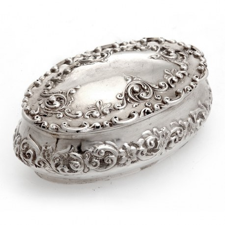 Oval Silver Trinket Box with Hinged Lid and Decorated with Scrolls and Flowers