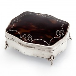 Silver Tortoiseshell Jewellery Box with Original Velvet Lining (1924)