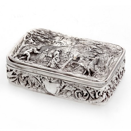 Decorative Silver Jewellery Box Depicting Courting Couples Horses and a Country House