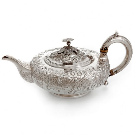 Antique Silver Bachelor Tea Pot Highly Decorated with Scrolls and Flowers (1837)