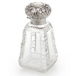 Unusual Pyramid Shape Antique Cut Glass and Silver Topped Perfume Bottle