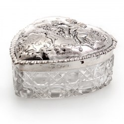 Edwardian Silver and Cut Glass Heart Shaped Trinket Box with a Pull-Off Lid