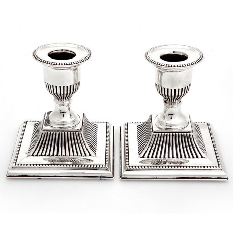 Pair of Small Edwardian Silver Dressing Table Candlesticks (1910)