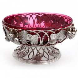 Victorian Silver Plate Fruit Bowl Decorated with Strawberries and with a Cranberry Glass Liner