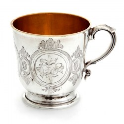 Early Victorian Hand Engraved Silver Christening Mug with Gilt Interior (1859)