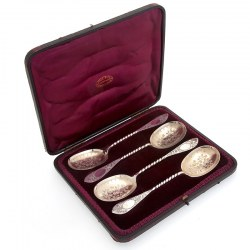 Set of Four Boxed Antique Victorian Silver Serving Spoons with Gilt Bowls
