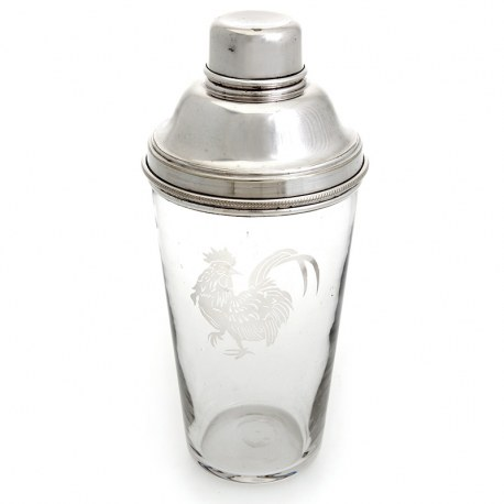 Large Glass and Silver Plate Cocktail Shaker with Etched Cockerel Detail (c.1930)