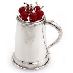 Silver Plated Tankard Shaped Cocktail Pick Holder (c.1930)