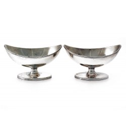Pair of Antique George III Silver Salt Cellars c.1790