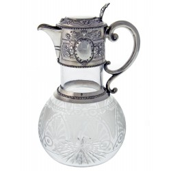 Antique Victorian Silver Mounted Claret Jug with Scroll Handle. (1887)