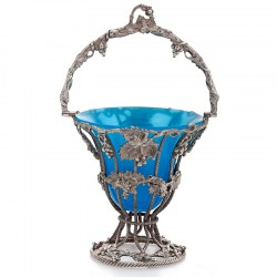 Decorative Victorian Silver Plate Sugar Basket with Original Blue Glass Liner