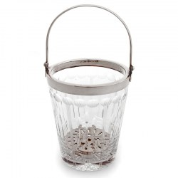 Art Deco Style Silver Plate Ice Pail with Looped Swing Handle and Tapering Hand Cut Glass Body