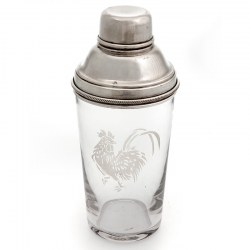 English Silver Plate and Glass Cocktail Shaker with Acid Etched Cockerel Design