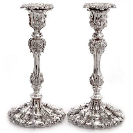 Pair of Impressive Elkingto n & Co Silver Plated Candle Sticks Decorated with Acanthus Leaves