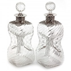 Pair of Antique William Comyns Silver Neck Glugging Decanters (1892)