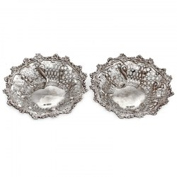 Pair of Edwardian Pierced Body Silver Dishes with a Floral and Scroll Border