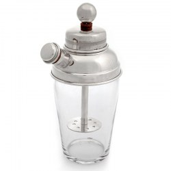 Vintage Silver Plate Cocktail Shaker with Integral Mixer and Clear Glass Body