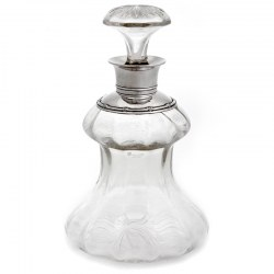 Unusual Antique Edwardian Clear Glass and Silver Neck Decanter (1910)