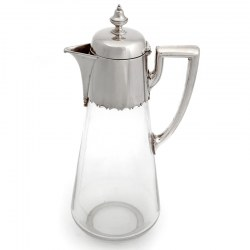 Victorian Silver Plated Claret Jug with a Plain Mount and Plain Glass Tapering Body