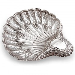 Large Silver Shell Shaped Bon Bon Dish with a Pierced Body and Crimped Edge Border