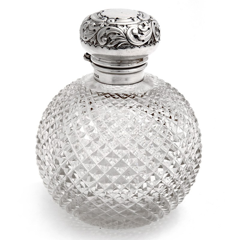 Edwardian Silver Topped Perfume Bottle With A Spiral And