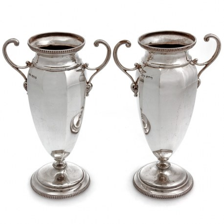 Pair of Vintage Eight Panelled Silver Vases with Scroll Handles (1930)