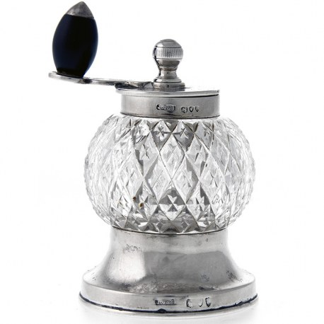 Victorian Antique Silver and Cut Glass Pepper Mill (1895)