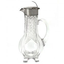 Elegant Antique Continental 800 Grade Silver and Cut Glass Claret Jug (c.1900)