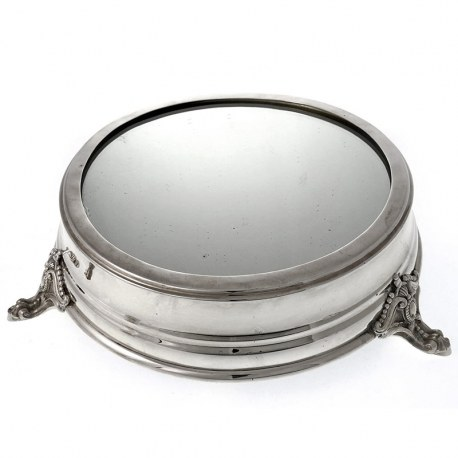 Large Antique Silver Plated Mirror Plateau Cake Stand (c.1900)