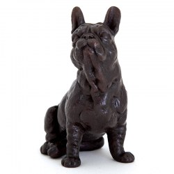 Cast Bronze Sculpture of a Sitting French Bull Dog