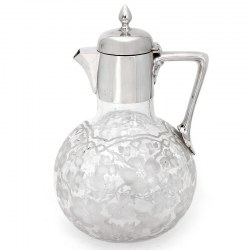 Victorian Silver Plate Claret Jug with a Globe Shaped Pansy & Leaf Engraved Glass Body