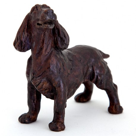 Cast Bronze Sculpture of a Standing Spaniel Dog
