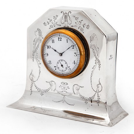 Edwardian Silver Mantle Clock with Removable Working Clock (1906)