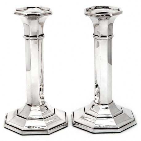 Pair of Antique Silver Octagonal Candle Sticks (1919)