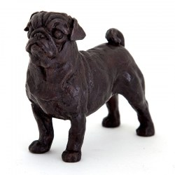 Standing Pug Dog Cast Bronze Sculpture