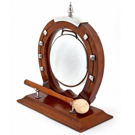 Edwardian Horse Shoe Oak and Silver Plate Dinner Gong with Original Mallet (c.1900)